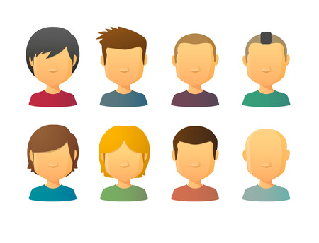 set of men hair styling: Faceless male avatars set with various hair styles Illustration