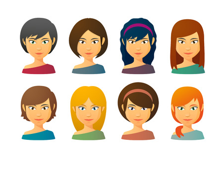 Set of female avatars  with various hair styles 向量圖像