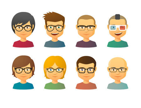 Set of male avatars wearing glasses with various hair styles