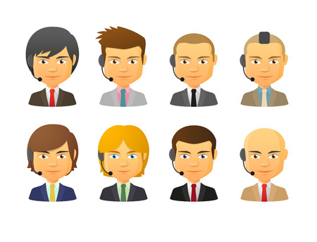 set of men hair styling: Set of isolated telemarketing male avatars wearing headset