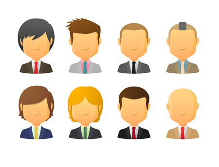 Set of faceless male avatars wearing suit  with various hair styles