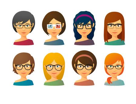 eyewear: Set of female avatars wearing glasses with various hair styles Illustration