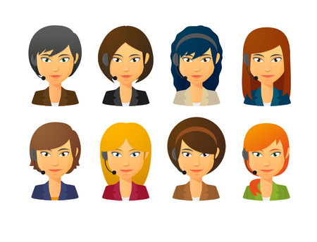 call centre girl: Set of isolated telemarketing female avatars wearing headset
