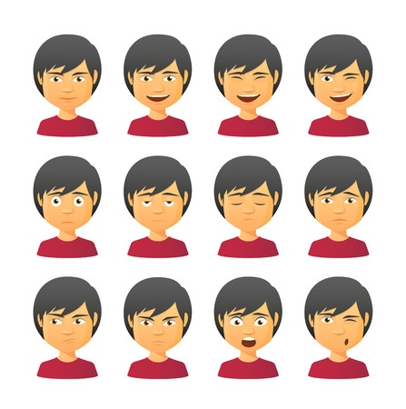 Isolated set of male avatar expressions