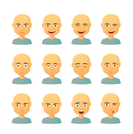 expressions: Isolated set of male avatar expressions
