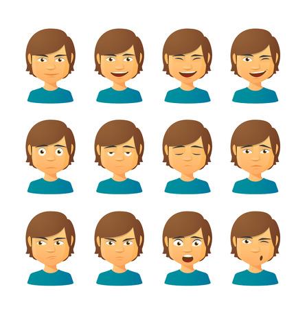 Geïsoleerde set van mannelijke avatar uitdrukkingen