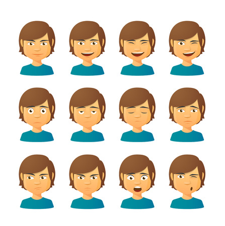 man face profile: Isolated set of male avatar expressions