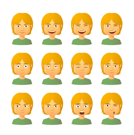 Isolated set of male avatar expressions Vector