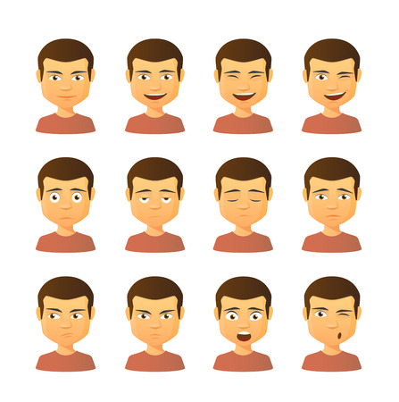 blank expression: Isolated set of male avatar expressions
