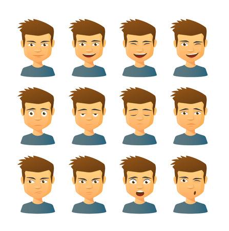 Geïsoleerde set van mannelijke avatar uitdrukkingen Stockfoto - 31057459
