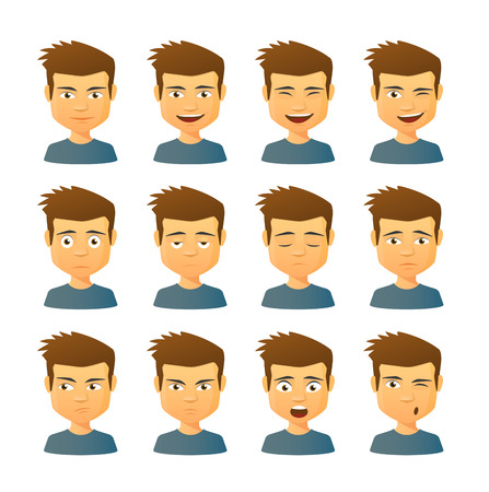 male face profile: Isolated set of male avatar expressions