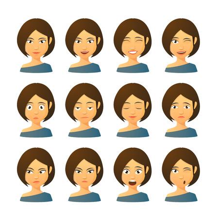 caras de emociones: Conjunto aislado de expresiones Avatar femenino
