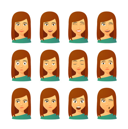 woman smiling: Isolated set of female avatar expressions