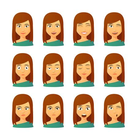 Izolované sada žena Avatar výrazů