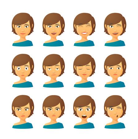 gestos de la cara: Conjunto aislado de expresiones Avatar femenino