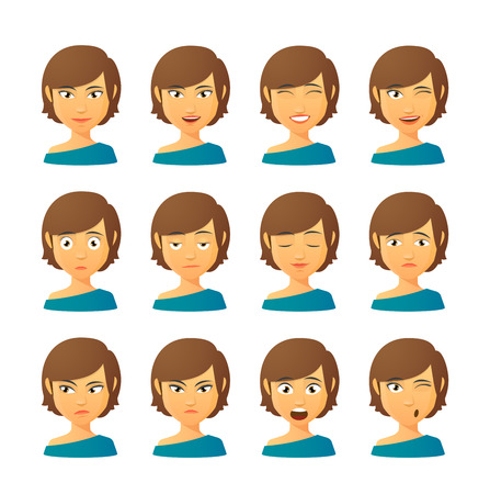 facial expression: Isolated set of female avatar expressions