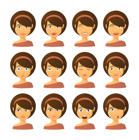blank expression: Isolated set of female avatar expressions