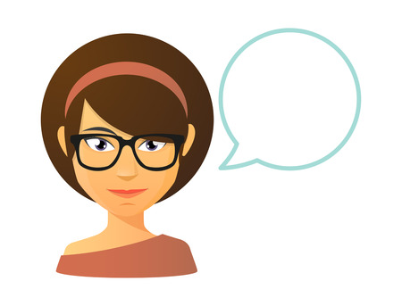 bubble speech: Illustration of an isolated teacher avatar with a comic balloon
