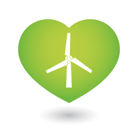 passion ecology: Illustration of an isolated heart icon with a wind generator Illustration