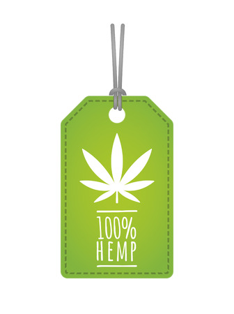 Illustration of an isolated label with a hemp leaf