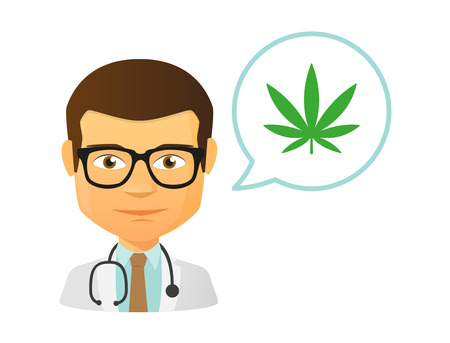 Illustration of an isolated male doctor with a marihuana leaf