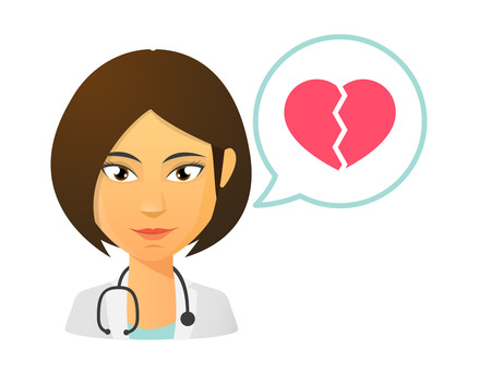 sad lonely girl: Illustration of an isolated female doctor with a heart