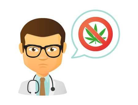 legalize: Illustration of an isolated male doctor with a forbidden sign