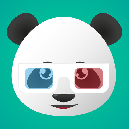 Illustration of a panda avatar wearing glasses Vector