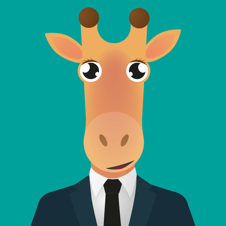 Illustration of a cartoon giraffe avatar wearing suit Vector