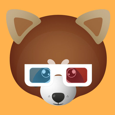 illustration of a red panda avatar wearing glasses Vector