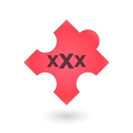 challenging sex: illustration of an isolated puzzle piece with a triple x sign