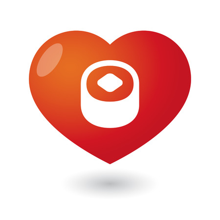 Illustration of an isolated heart with a sushi Vector