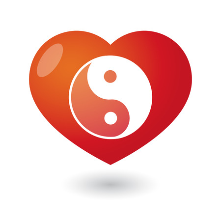 Illustration of an isolated heart with a yingyang Vector
