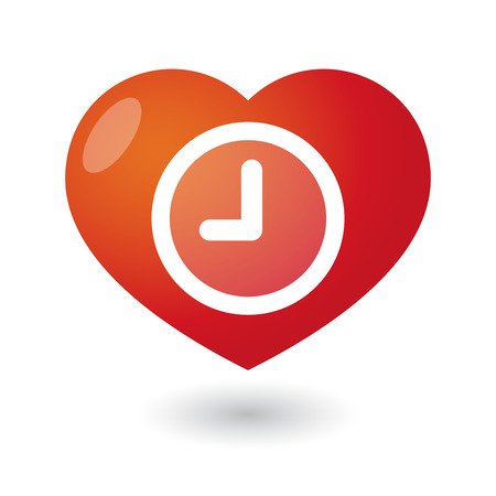 heart abstract: Illustration of an isolated heart with a clock