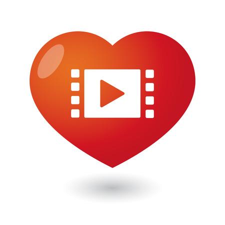 movie sign: Ilustraci�n de un coraz�n aislado con un cartel de la pel�cula