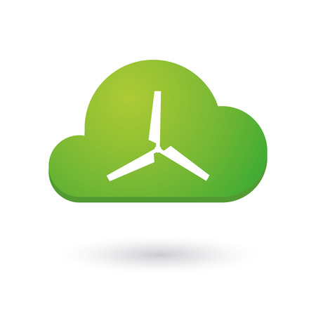 Illustration of an isolated cloud icon with a propeller Vector