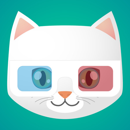 cat's eye glasses: Illustration of a cartoon cat avatar