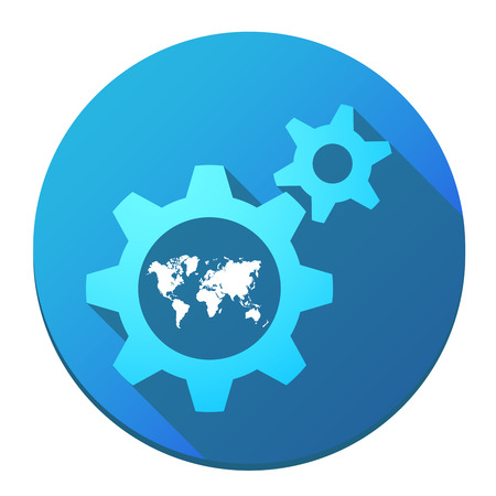 Factory icon: Illustration of an isolated gears with a world map Illustration