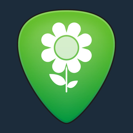 guitar pick: Illustration of an isolated guitar pick with a flower Illustration