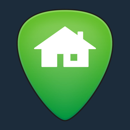 guitar pick: Illustration of an isolated guitar pick with a house