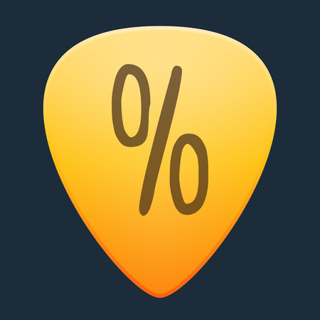 guitar pick: Illustration of an isolated guitar pick with a discount sign