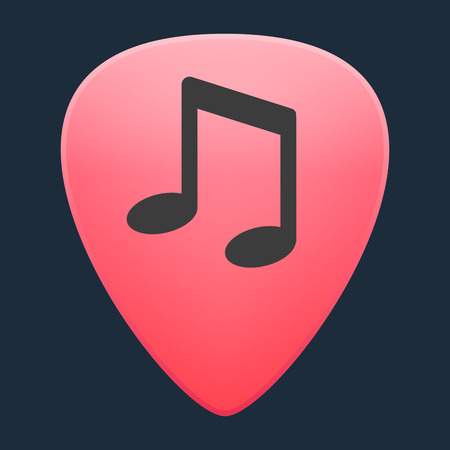 guitar pick: Illustration of an isolated guitar pick with a musical note Illustration