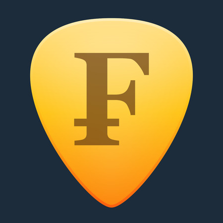 Illustration of an isolated guitar pick with a currency sign Vector