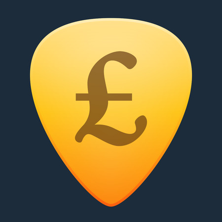 plectrum: Illustration of an isolated guitar pick with a currency sign