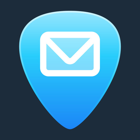 guitar pick: Illustration of an isolated guitar pick with a mail sign Illustration