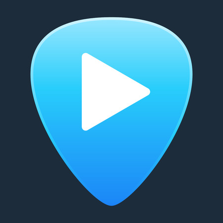 plectrum: Illustration of an isolated guitar pick with a play sign