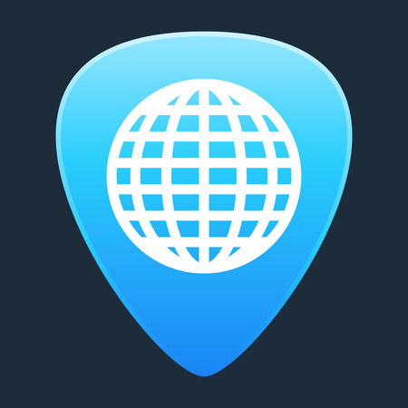 guitar pick: Illustration of an isolated guitar pick with a world map