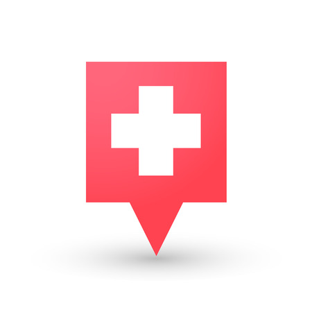 swiss flag: illustration of an isolated tooltip with a swiss flag