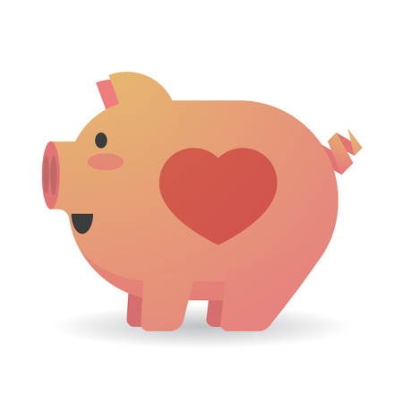 Illustration of an isolated cartoon pig with a heart Illustration