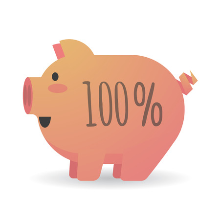 percentage sign: Illustration of an isolated cartoon pig with a percentage sign Illustration